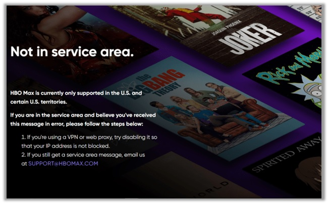HBO Max Not in Service Area